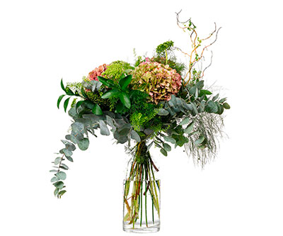 Ramo Flores Nº 10 Hortensias, Ammi majus, Tlhaspi, Ramajes, Verdes varios - Floristería en Madrid Margarita se llama mi amor